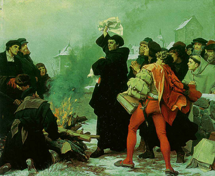 Luther verbrennt die päpstliche Bannbulle, Gemälde von Paul Thurmann, 1872-73